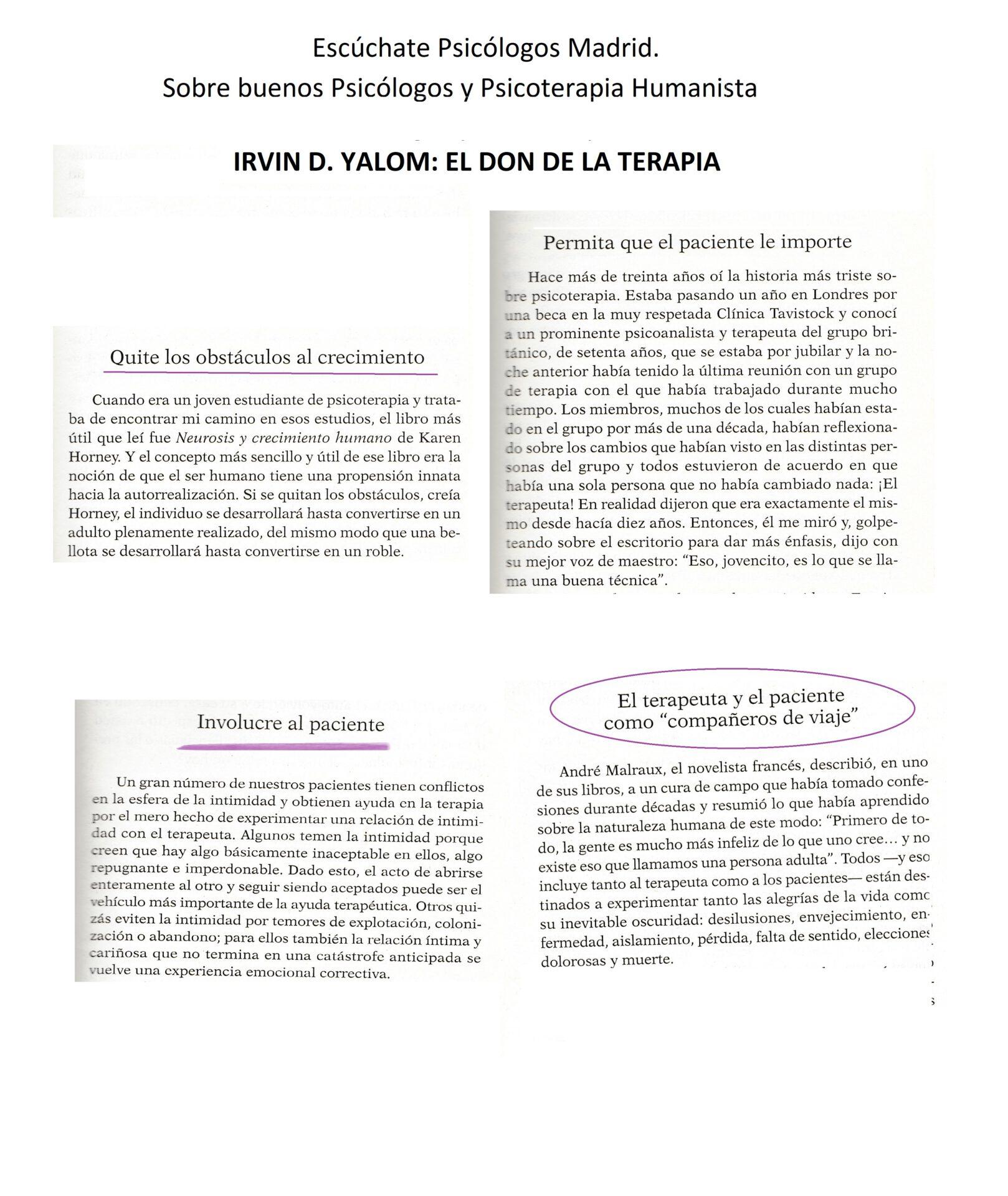 Escúchate. Buenos psicólogos en Madrid. Irvin D. Yalon