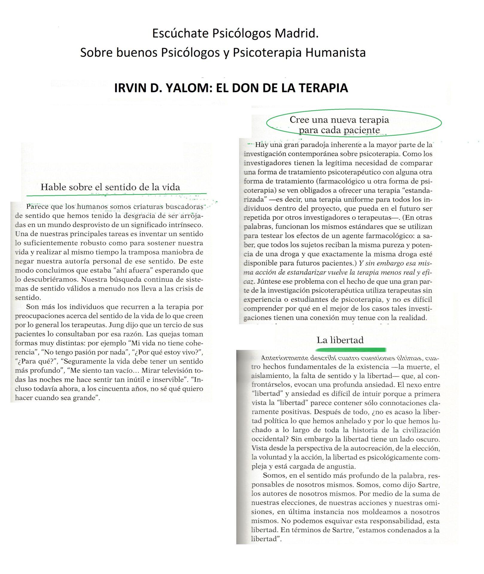 Psicólogos Madrid Buenos. Psicólogia Gestalt. Irvin D Yalom